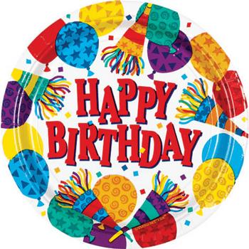 Platos de Papel Cumpleaños Globos y Cornetas de 9 Pulgadas, 8 piezas