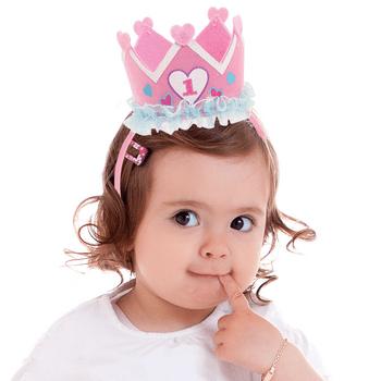 Diadema con Corona Rosa para Primer Cumpleaños