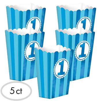 Cajas para Palomitas Primer Cumpleaños Azul, 5 piezas