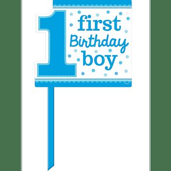 Letrero para Jardín Primer Cumpleaños Niño