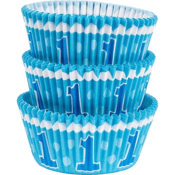 Capacillos para Cupcakes Primer Cumpleaños Azul, 75 piezas