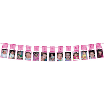 Guirnalda de Fotos Primer Cumpleaños Rosa