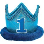Corona-de-Felpa-Primer-Cumpleaños-Azul