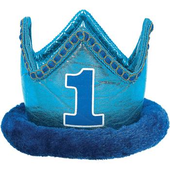 Corona de Felpa Primer Cumpleaños Azul