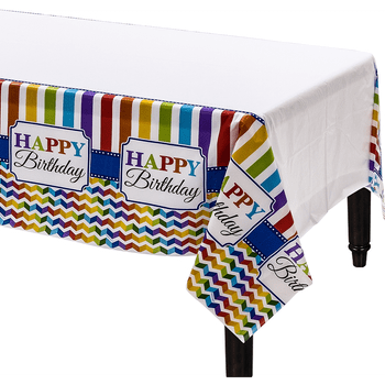 Mantel de Plástico Happy Birthday Grecas de Colores