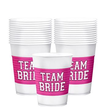 Vasos de Plástico Team Bride, 25 piezas
