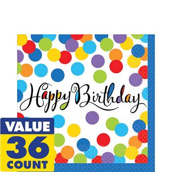 Servilletas para Lunch Happy Birthday Confeti de Colores, 36 piezas