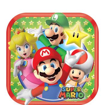 Platos de Papel Super Mario - 7 Pulgadas, 8 piezas