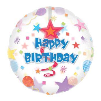 Globo Estrellas y Espirales Happy Birthday de 32 Pulgadas