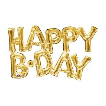 Globo Metálico Dorado Happy Birthday de 30 pulgadas