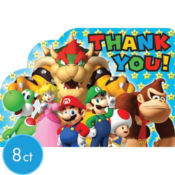 Tarjetas de Agradecimiento Super Mario, 8 piezas