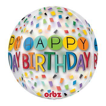 Globo Orbz Arcoiris Happy Birthday de 16 Pulgadas