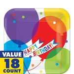Platos-Cuadrados-de-Papel-Happy-Birthday-Globos-Brillantes-18-piezas