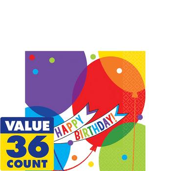 Servilletas para Bebidas Happy Birthday Globos Brillantes, 36 piezas