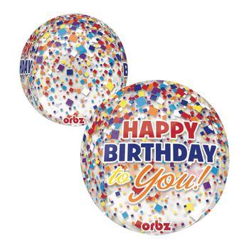 Globo Orbz Confeti Arcoiris Happy Birthday de 16 Pulgadas