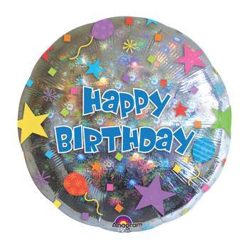 Globo Holográfico Estrellas Happy Birthday