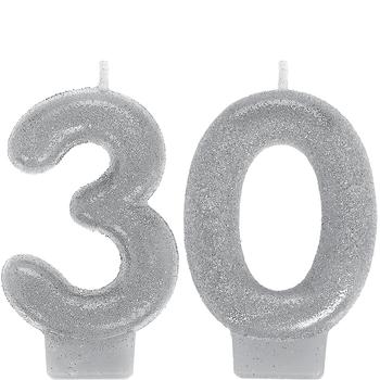 Vela de Cumpleaños Plata con Brillos