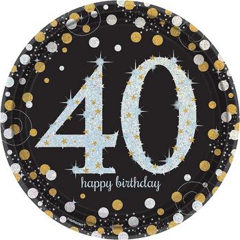 Platos de Papel Celebración 40 - 9 Pulgadas, 8 piezas