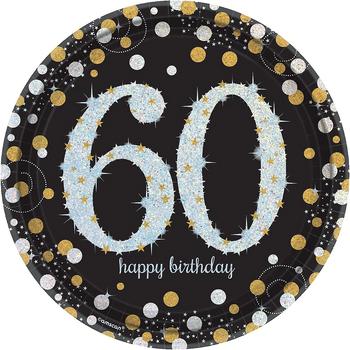 Platos de Papel Celebración 60 - 9 Pulgadas, 8 piezas