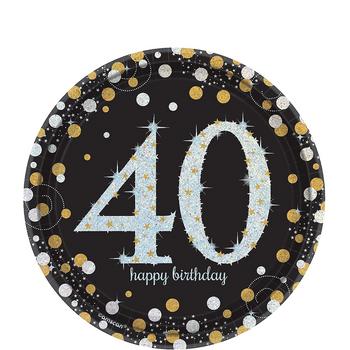Platos de Papel Celebración 40 de 7 Pulgadas, 8 piezas