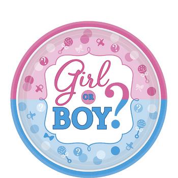 Platos de Papel Girl or Boy Revelación de Género de 7 Pulgadas, 8 unidades