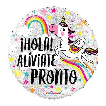 Globo Metálico Unicornio Alíviate Pronto, 18 Pulgadas