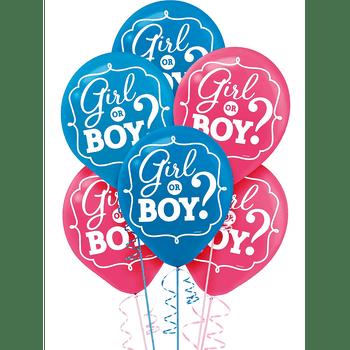 Globos de Látex Girl or Boy, 15 piezas