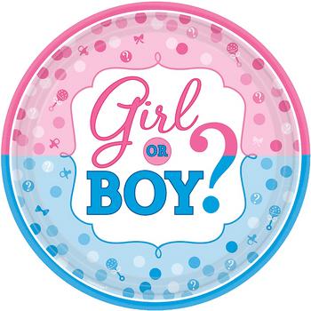 Platos de Papel Girl or Boy Revelación de Género de 10.5 Pulgadas, 8 piezas