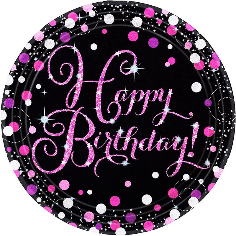 Platos-Redondos-de-Papel-Happy-Birthday-Negro-y-Rosa-8-piezas