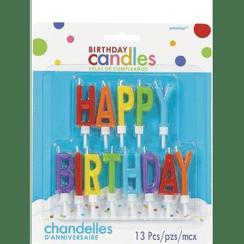 Velas Happy Birthday Arcoiris, 13 piezas