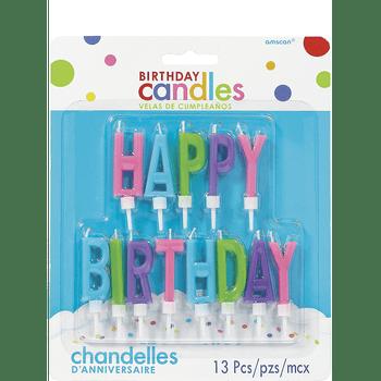 Velas Happy Birthday Colores Pastel, 13 piezas