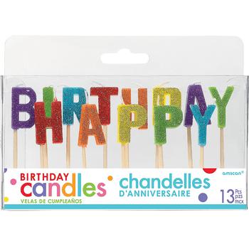 Velas Happy Birthday Arcoiris con Brillos, 13 piezas