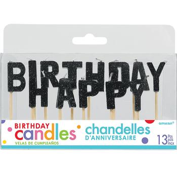 Velas Happy Birthday Negro, 13 piezas