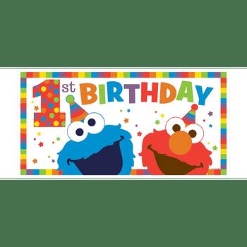 Banner de Plástico Elmo Primer Cumpleaños