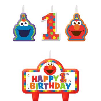 Kit de Velas Elmo Primer Cumpleaños, 4 piezas
