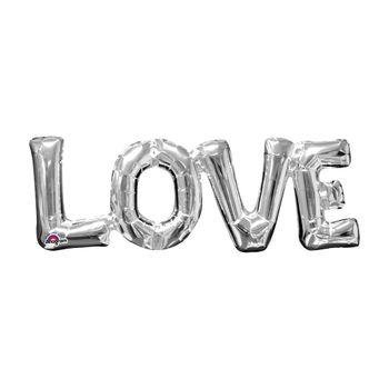 Globo Metálico Plata Love de 25 pulgadas