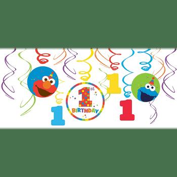 Decoraciones Colgantes en Espiral Elmo Primer Cumpleaños, 12 piezas