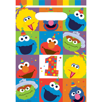 Bolsas de Plástico para Dulces Elmo Primer Cumpleaños, 8 piezas