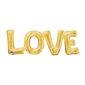 Globo Metálico Dorado Love de 25 pulgadas