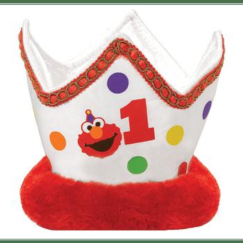 Corona de Felpa Elmo Primer Cumpleaños