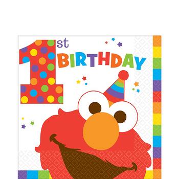 Servilletas para Lunch Elmo Primer Cumpleaños, 16 piezas