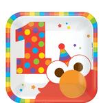 Platos-Cuadrados-de-Papel-Elmo-Primer-Cumpleaños-8-piezas