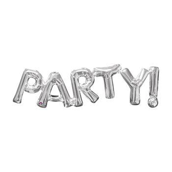 Globo Metálico Plata Party! De 33 pulgadas