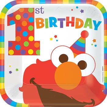 Platos Cuadrados de Papel Elmo Primer Cumpleaños, 8 piezas