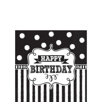Servilletas para Bebidas Pizarra Happy Birthday, 16 piezas