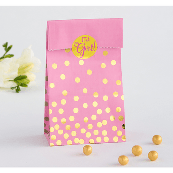 Bolsas de Papel para Dulces Baby Shower Rosa con Dorado, 20 piezas