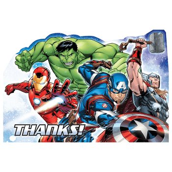 Tarjetas de Agradecimiento Avengers, 8 piezas