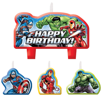 Kit de Velas de Cumpleaños Avengers, 4 piezas