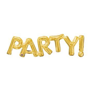 Globo Metálico Dorado Party! de 33 pulgadas