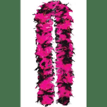 Boa de Plumas Rosa con Negro